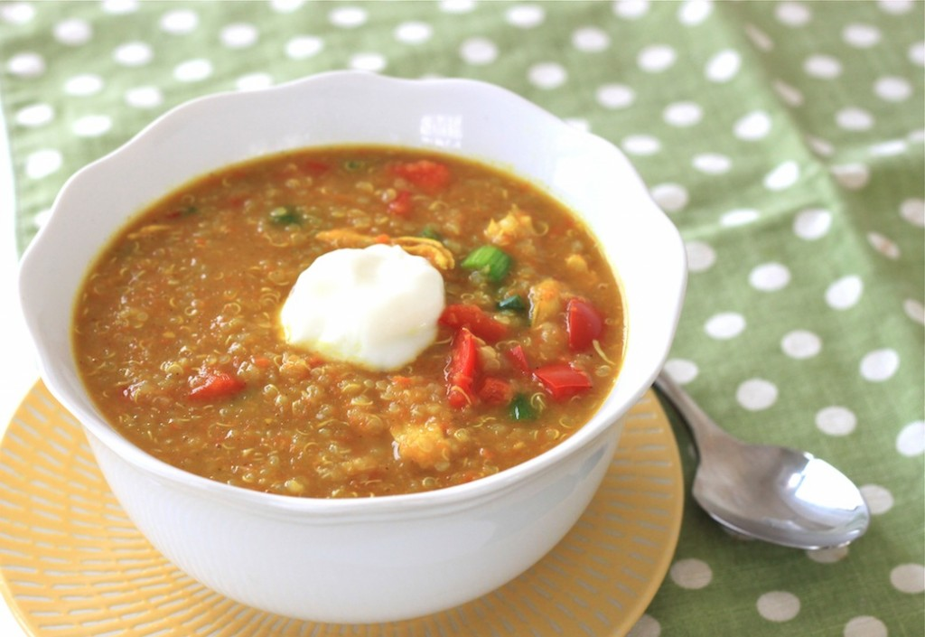 curried coconut quinoa and chicken soup