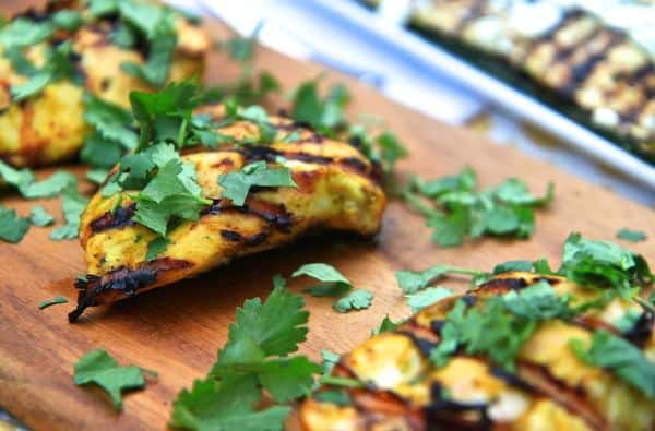 Mango Curry Grilled Chicken   greens & chocolate