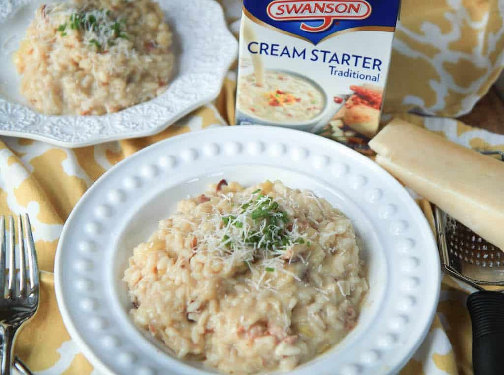Leek and Pancetta Risotto - Extra Creamy! With Cheese and a Pack of Cream Starter Next to the Plate