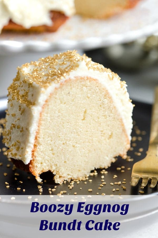 Boozy Eggnog Bundt Cake collage with text overlay