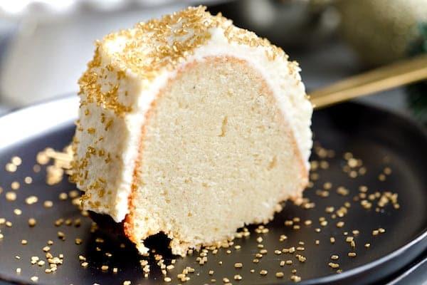 A piece of the delicious Boozy Eggnog Bundt Cake