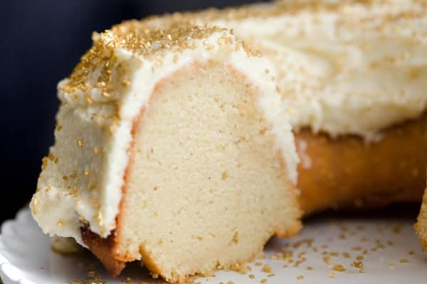 Delicious Boozy Eggnog Bundt Cake with incredible frosting