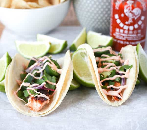 Salmon Tacos with Sriracha Cream Sauce