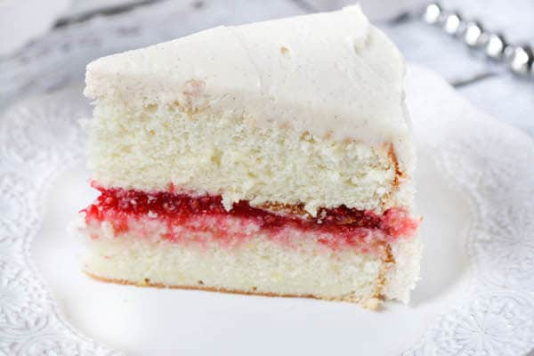 Lemon Layer Cake with Raspberry Filling and Vanilla Buttercream