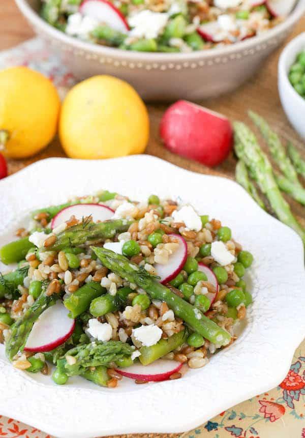 Spring Vegetable Grain Salad with Lemon Dill Dressing