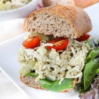 Artichoke and Pesto Chicken Salad Sandwich
