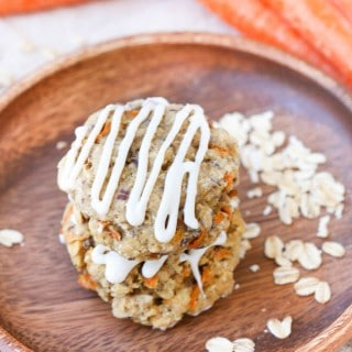 Carrot Cake Breakfast Cookies 45 Degrees Angle Shot with the Cookies Being in the Wooden Plate