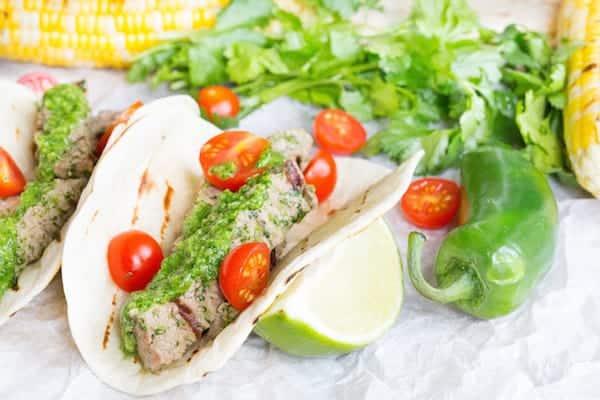 Cilantro Pesto Steak Tacos