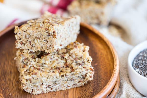 No Bake Peanut Butter Chia Granola Bars