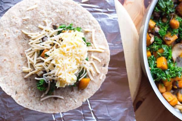 Butternut Squash Kale and Gouda Breakfast Burritos