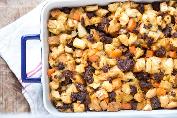 Chorizo Sweet Potato and Apple Stuffing Cooked and Served on the Table