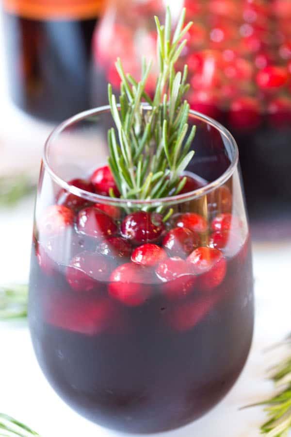 Cranberry Apple Sangria - Holiday Cocktail Closeup