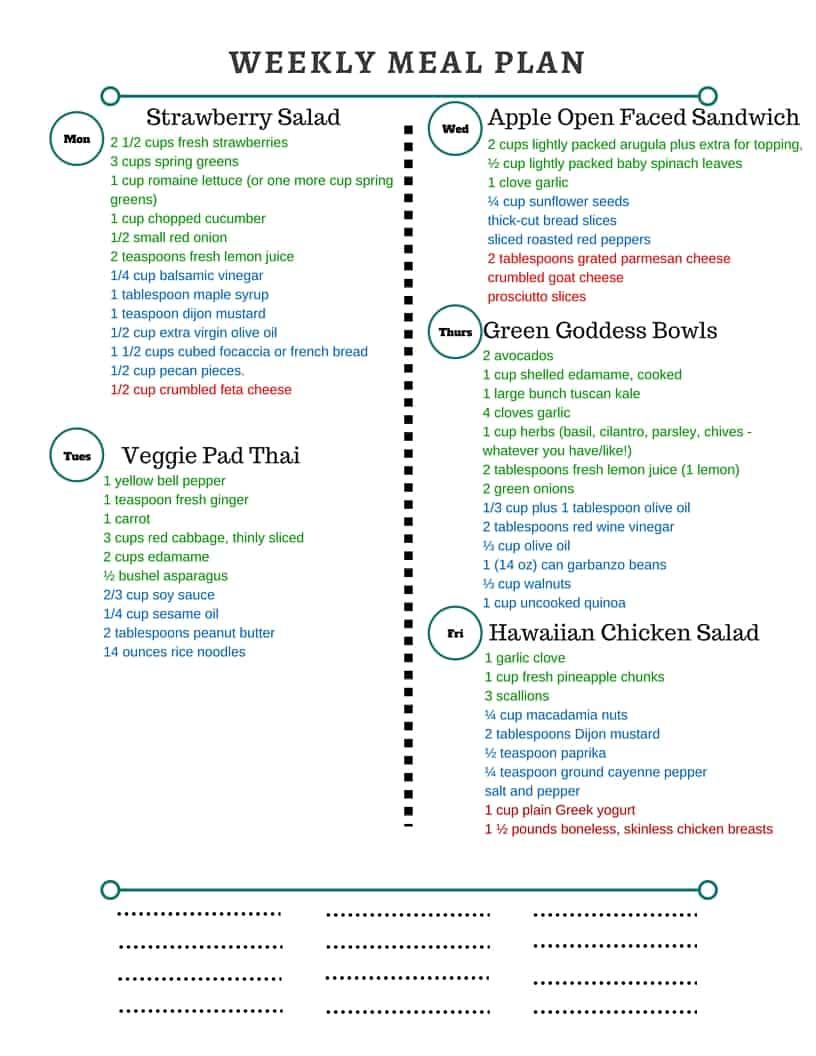 Printable Meal Plan Grocery List