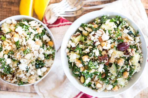 Mediterranean Quinoa and Kale Salad - Overhead on Two Bowls Full of This Delicious Salad