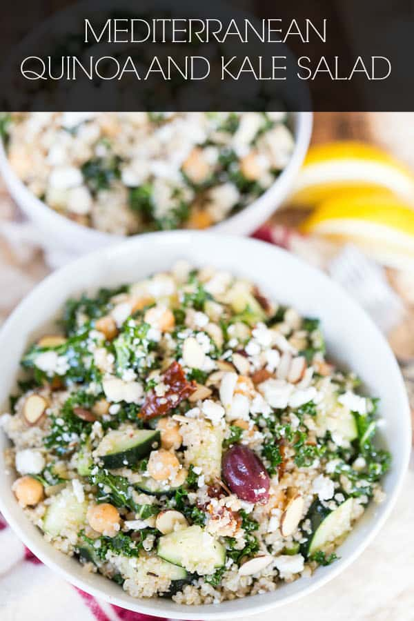 Mediterranean Quinoa and Kale Salad Collage with Text Overlay