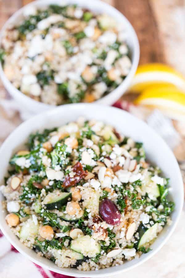 Mediterranean Quinoa and Kale Salad Full of Health, Vitamins and Flavor