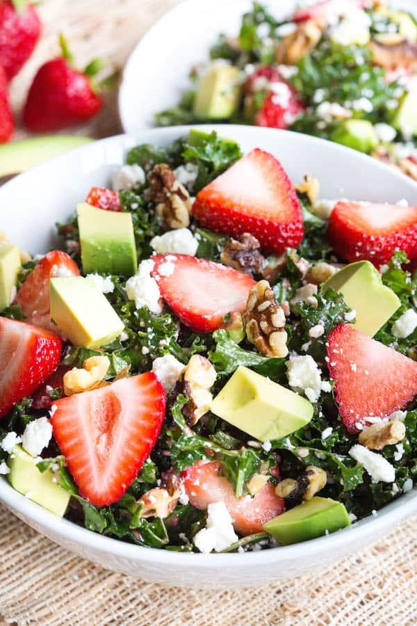 Strawberry and Avocado Kale Salad