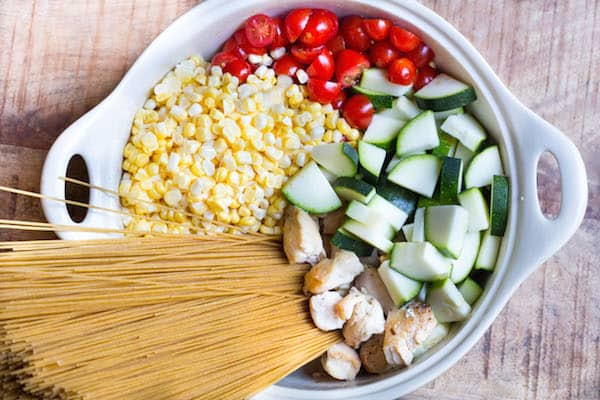 One Pot Creamy Chicken and Summer Vegetable Pasta