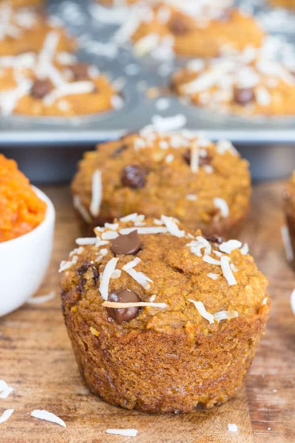Coconut Pumpkin Chocolate Chip Muffins