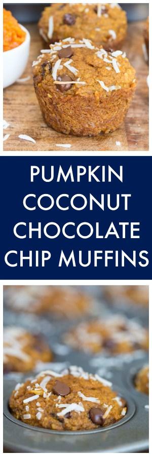 Pumpkin Coconut Chocolate Chip Muffins