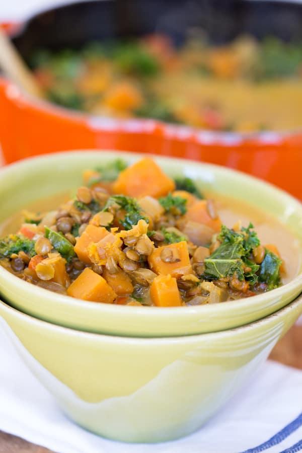 Butternut Squash Lentil Coconut Curry Soup