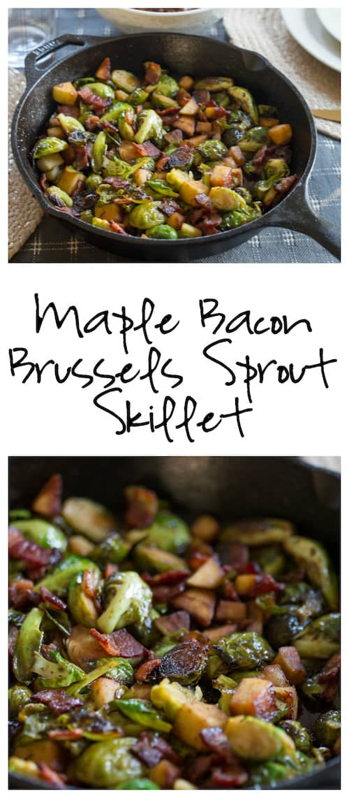 Maple Bacon Brussels Sprout Skillet Collage of Two Images with Text Overlay