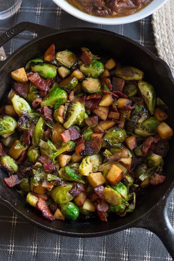 Maple Bacon Brussels Sprout Skillet in a Pan Closeup