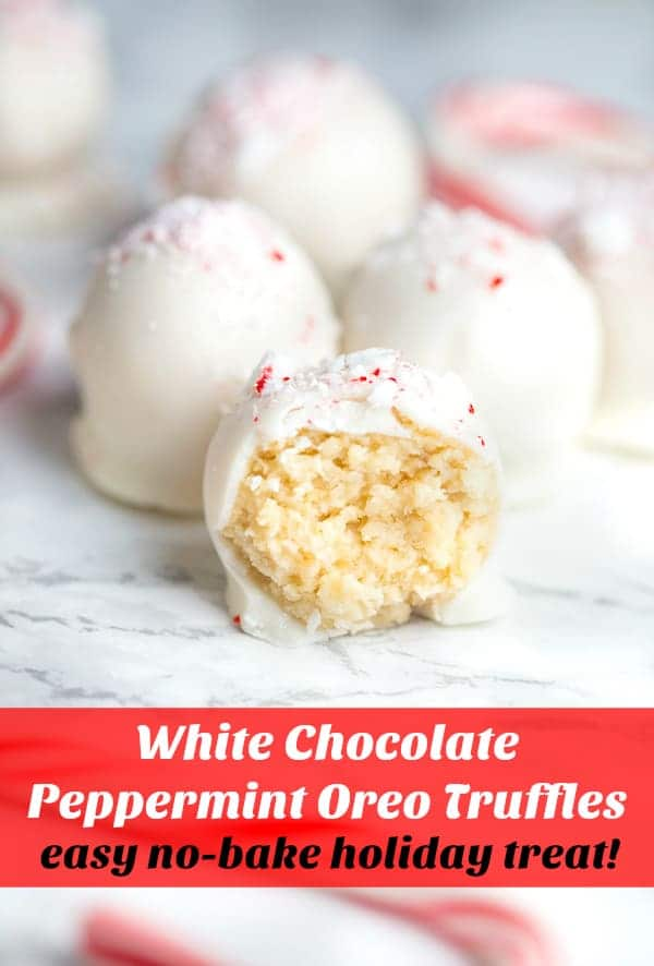 White Chocolate Peppermint Oreo Truffles collage with text overlay