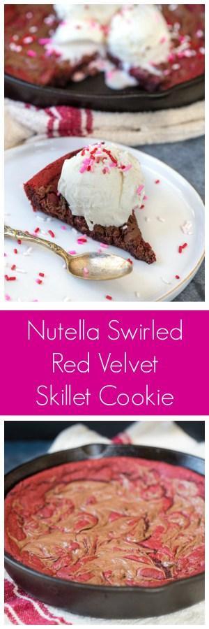 Nutella Swirled Red Velvet Skillet Cookie