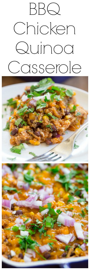 Barbecue Chicken Quinoa Casserole Super Long Collage with Text Overlay