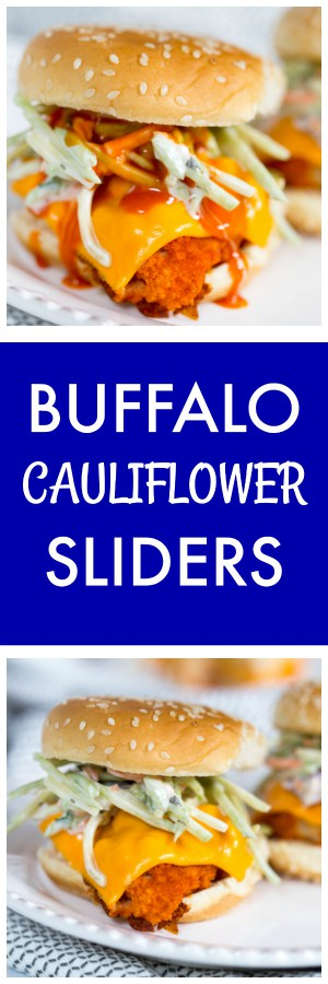 Buffalo Cauliflower Sliders Super Long Collage with Text Overlay