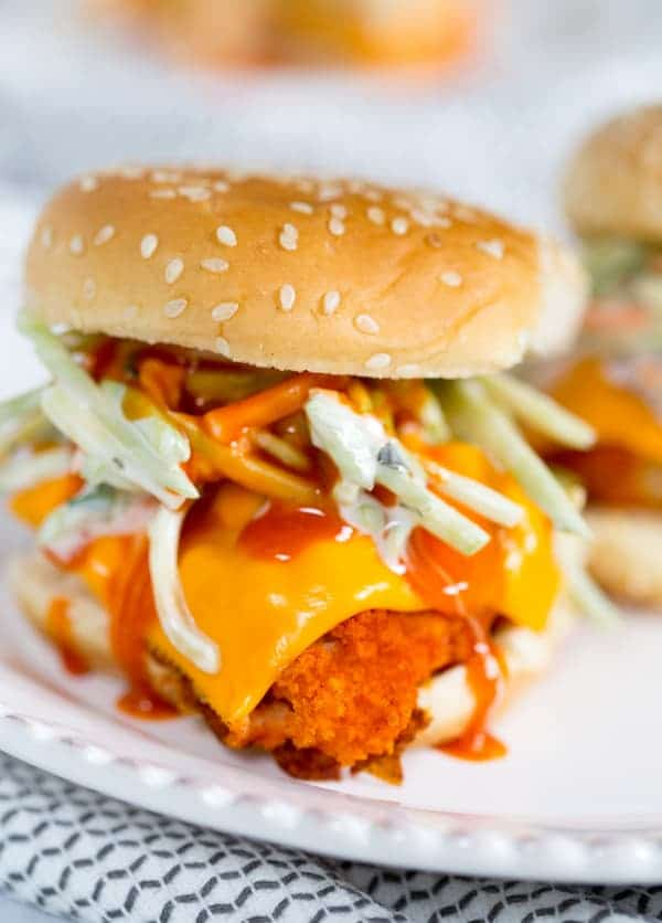 Buffalo Cauliflower Sliders Mouthwatering Slider in a White Plate on the Table