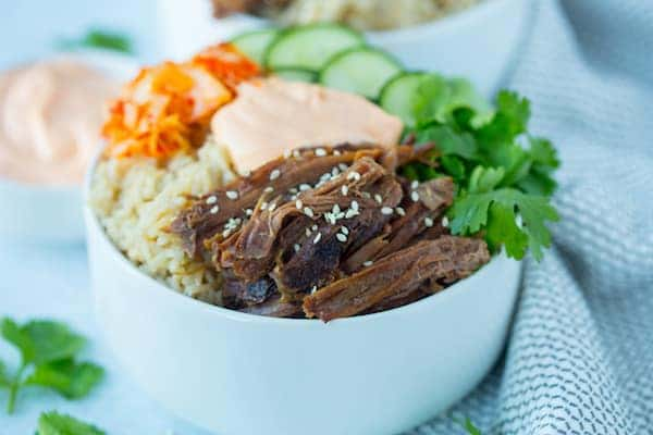 Slow Cooker Korean Beef Burrito Bowls