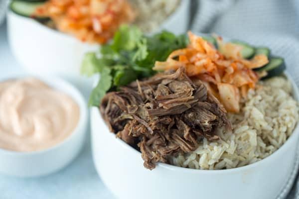 Slow Cooker Korean Beef Burrito Bowls Easy Freezer Meals