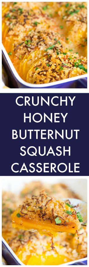 Crunchy Honey Butternut Squash Casserole Collage with Two Images and Text Overlay