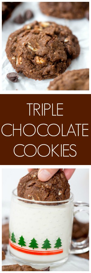 Triple Chocolate Cookies collage with text overlay