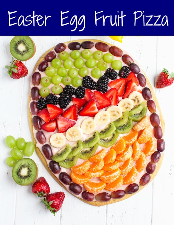 Easter Egg Fruit Pizza Collage with Text Overlay