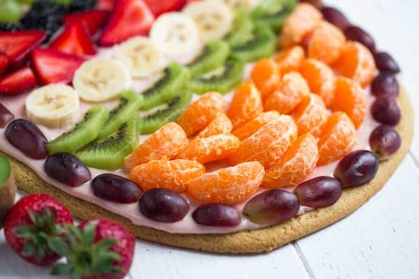 Easter Egg Fruit Pizza Focus on the Fruits on the Side of the Pizza