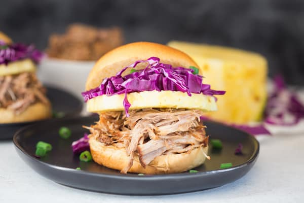 Pressure Cooker Hawaiian Pulled Pork Sandwiches - Beautiful Side Shot of the Buger
