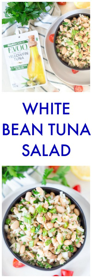 White Bean Tuna Salad Super Long Collage with Text Overlay