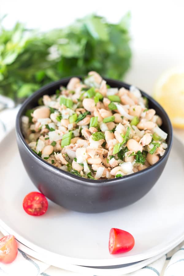 White Bean Tuna Salad Side Shot with Greens in the Back