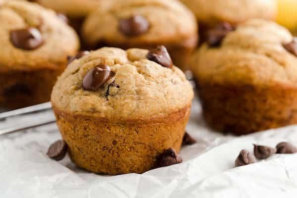 Healthy Banana Dark Chocolate Chip Muffins