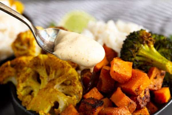 Indian Curry Vegetable Rice Bowls with Curry Yogurt Sauce