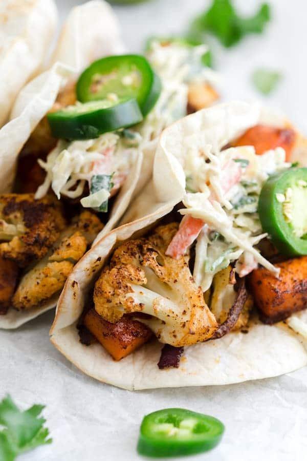 Roasted Cauliflower Sweet Potato Tacos