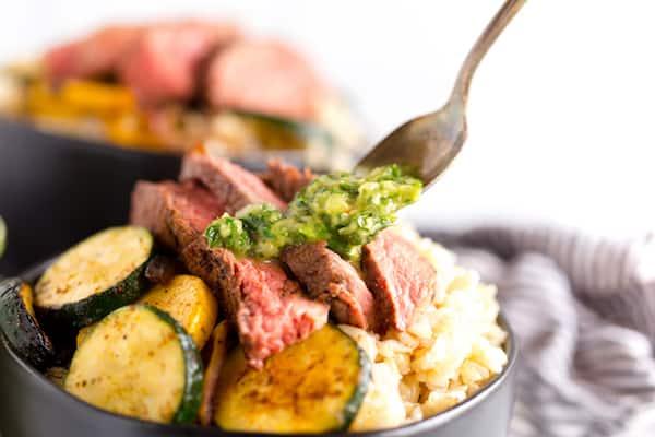 Chimichurri Steak and Vegetable Rice Bowls