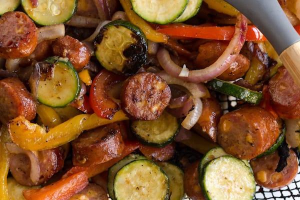 Grilled Cheddar Sausage and Pepper Skillet