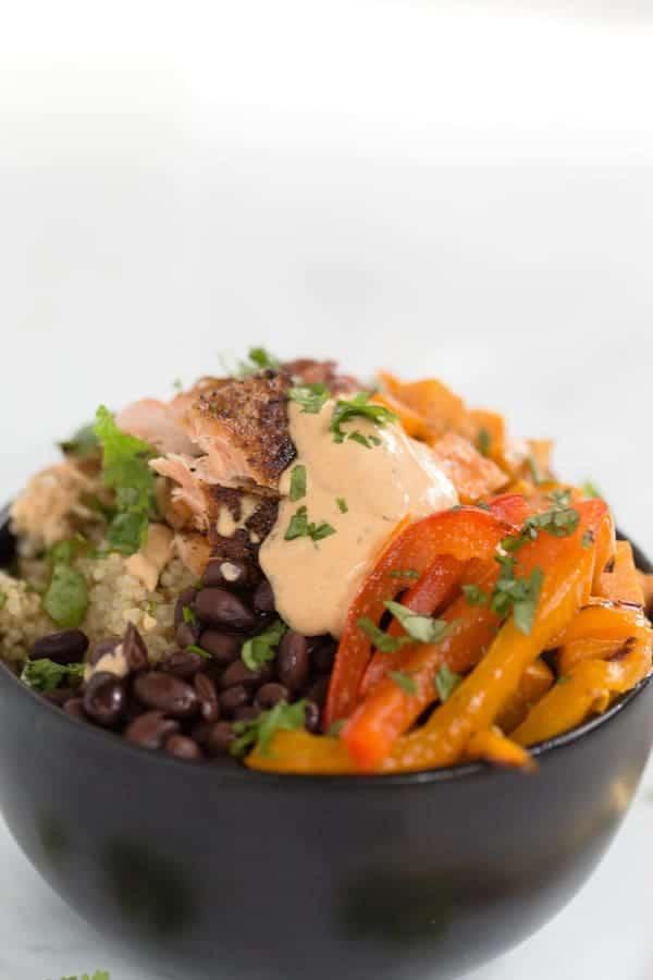 Southwestern Salmon Quinoa Bowls