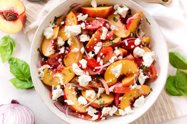 Tomato Peach Salad with Goat Cheese