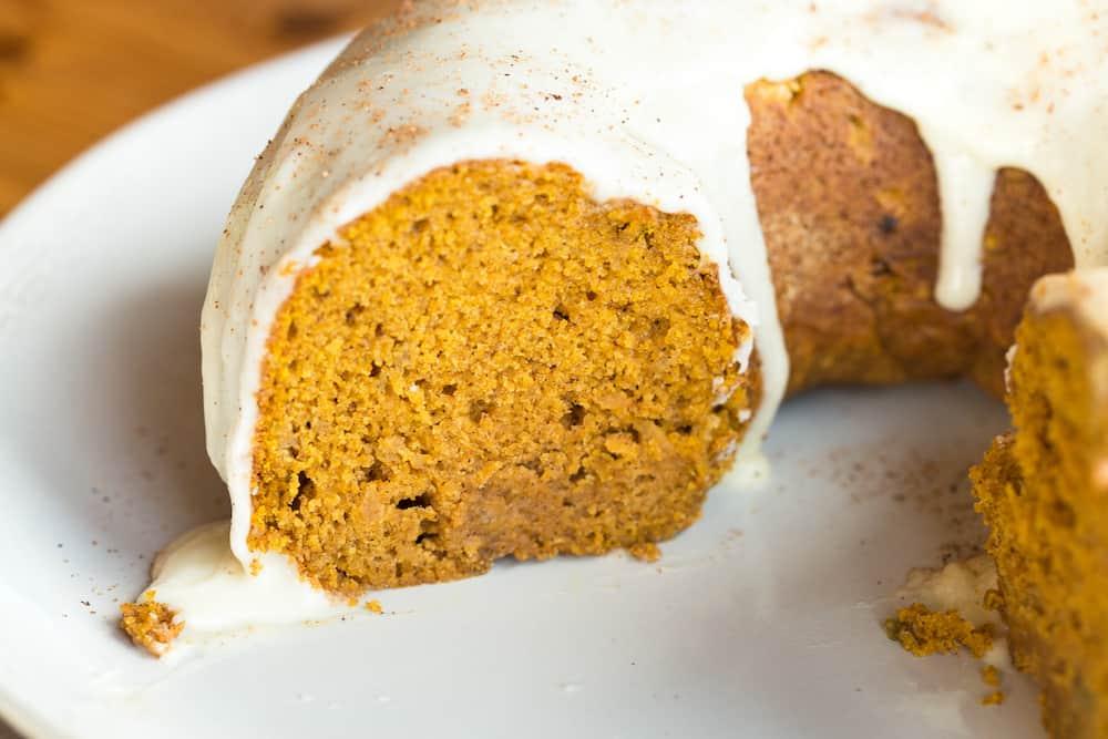 Pumpkin Apple Bundt Cake with Maple Glaze
