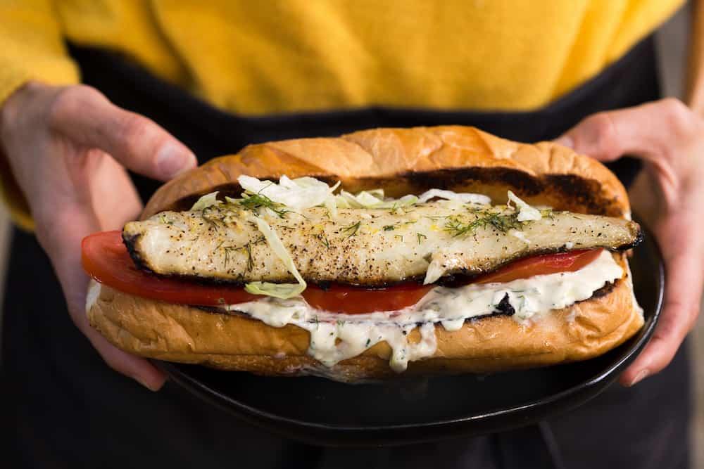 Grilled Walleye Sandwiches